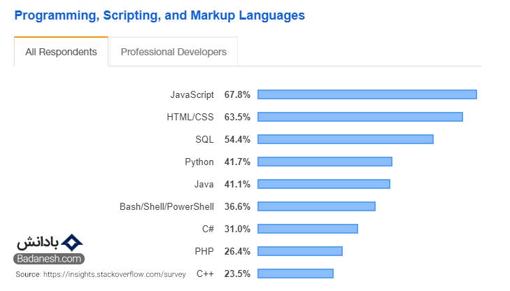 بهترین زبان های برنامه نویسی از نظر استک اور فلو 2020